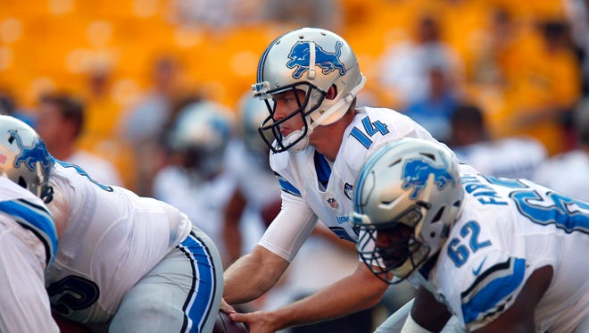 Jake Rudock of the Detroit Lions warms up before the game against the Pittsburgh Steelers on August 12, 2016 at Heinz Field in Pittsburgh, Pennsylvania.