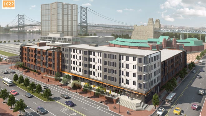 A rendering shows 11 Cooper, a 156-unit apartment complex planned for the Camden Waterfront.