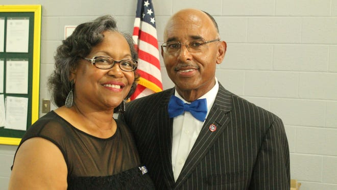 Hardeman County Mayor Willie Spencer and his wife, Dixie, at the appreciation banquet in Spencer's honor held Saturday in Bolivar. Spencer will leave the office of mayor in September.