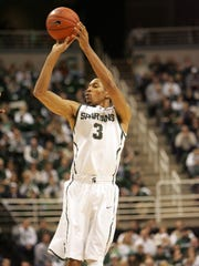 Michigan State's Brandan Kearney scores against the Louisiana Lafayette Ragin' Cajuns during the first half Nov. 25, 2012 at the Breslin Center in East Lansing.