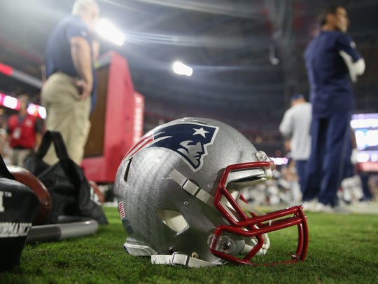 Detail of the New England Patriots helmet.