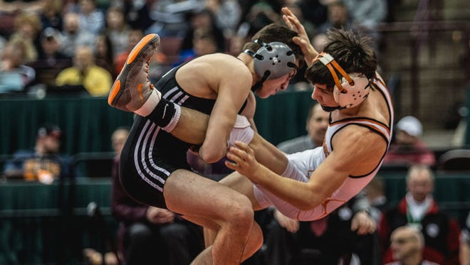 Genoa's Dylan D'Emilio earned his second straight state championship after pinning Shadyside's Greg Quinn in 5 minutes, 52 seconds.