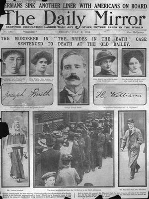"""The 1915 front page of the Daily Mirror report on George Smith from the """"Brides In The Bath"""" murders being sentenced to death."""