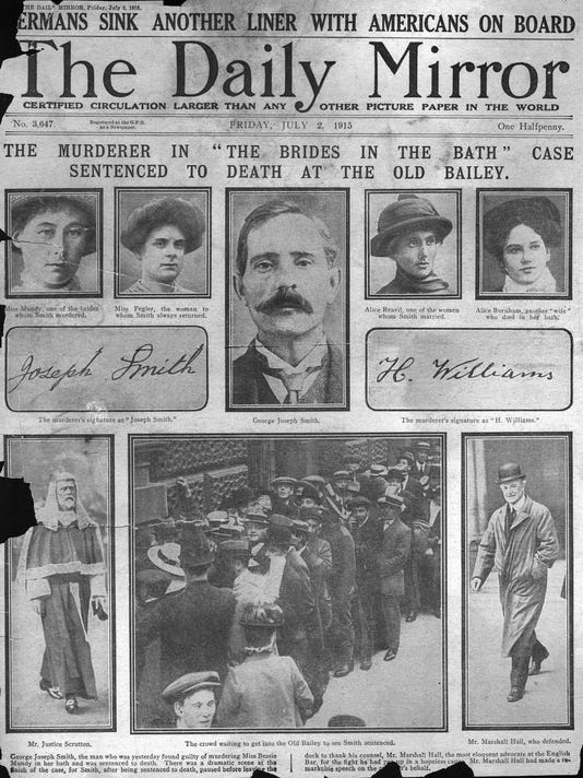 1915 Daily Mirror front page reporting George Smith Brides In The Bath murder case