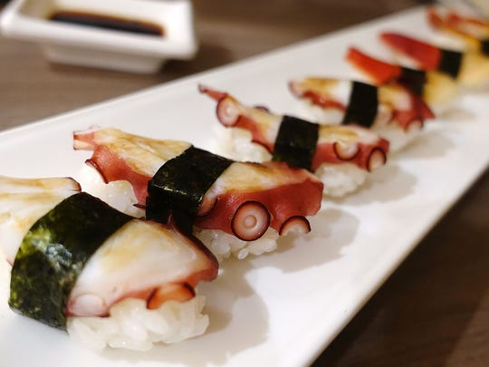 Tako (octopus) nigiri sushi at Sushi Nakano in Phoenix, AZ.