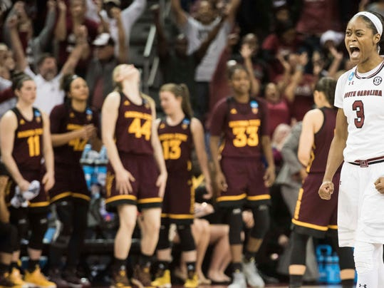 South Carolina guard Kaela Davis (3) celebrates at the conclusion of a second-round game in the NCAA women's college basketball tournament against Arizona State on Sunday, March 19, 2017, in Columbia, S.C. South Carolina defeated Arizona State 71-68. (AP Photo/Sean Rayford)