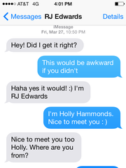 The first text exchange between R.J. Edwards and Holly Hammonds after the two locked eyes at a 2015 Kenny Chesney concert. Hammonds signaled her phone number to him one digit at a time across about 60 yards at the noisy concert.