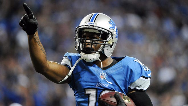 Former Detroit Lions wide receiver Titus Young celebrates a game-winning touchdown in an October 2012 game against the Seattle Seahawks.