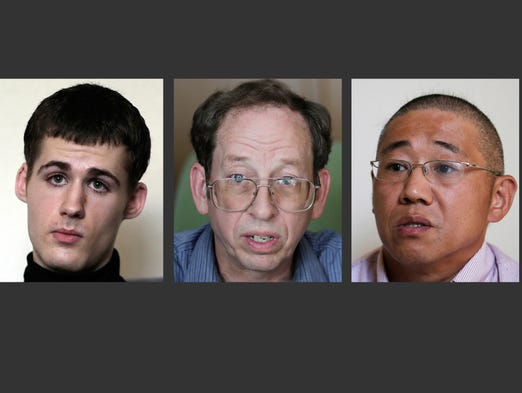 North Korea gave foreign news media access to three detained Americans on Sept. 1, from left, Mathew Miller, Jeffrey Edward Fowle and Kenneth Bae.