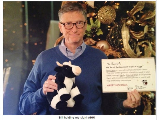 Bill Gates was unmasked as a Secret Santa on Reddit Gifts, gifting user Rachel a stuffed cow, a donation to Heifer International in her name and a National Geographic book about traveling the world.