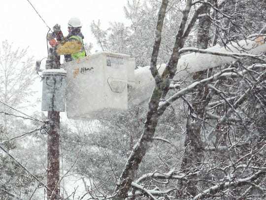 A crew from J.W. Didado in Ohio helping out JCP&L works on power lines on Tempe Wick Road in Harding as wicked winter weather expected to pick up within the next few hours, potentially dumping up to 18 inches in some areas. March 7, 2018.  Harding , NJ.