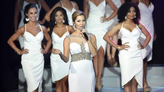 Miss Mississippi 2010 Sarah Beth James emces on Friday, June 22, 2018, the final night of preliminary competition in the Miss Mississippi Pageant at the Vicksburg Convention Center in Vicksburg, Miss.