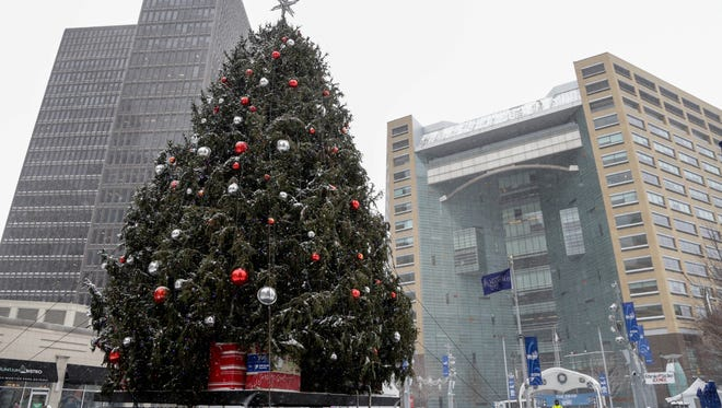 Tree in Campus Martius Park in Detroit awaits the annual tree-lighting ceremony.