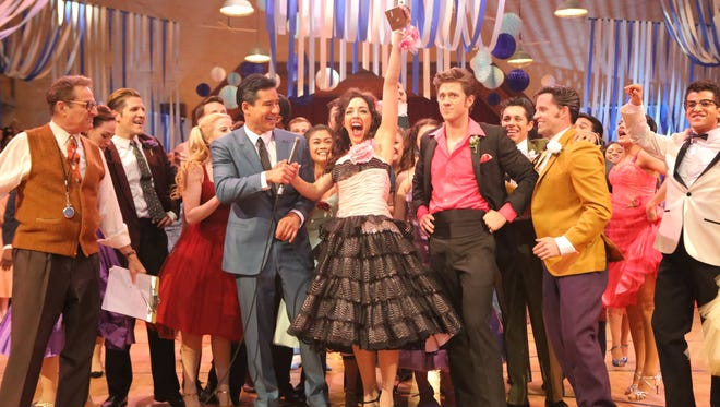 """Barry Pearl (from left), Mario Lopez, Yvette Gonzalez-Nacer, Aaron Tveit, Andrew Call, Jordan Fisher and Carly Rae Jepsen in Fox's """"Grease Live."""""""