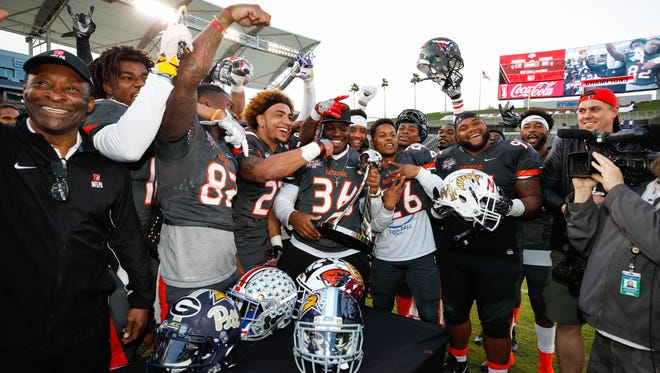 Members of the National Team celebrate their victory following the NFLPA Collegiate Bowl at StubHub Center, Saturday, Jan. 21, 2017, in Carson, Calif. The National Team defeated the American Team, 27-7.