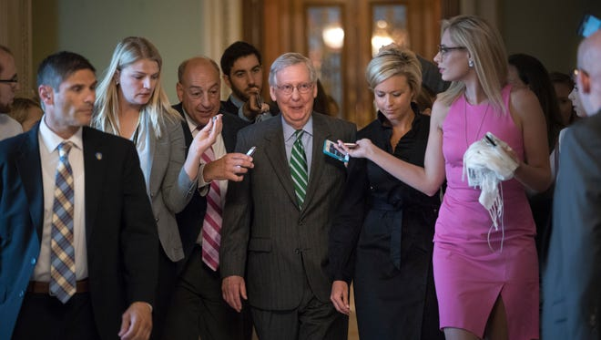 Senate Majority leader Mitch McConnell leaves the chamber after announcing the release of the Republicans' healthcare bill which represents the party's long-awaited attempt to scuttle much of President Barack Obama's Affordable Care Act, at the Capitol in Washington, Thursday, June 22, 2017.