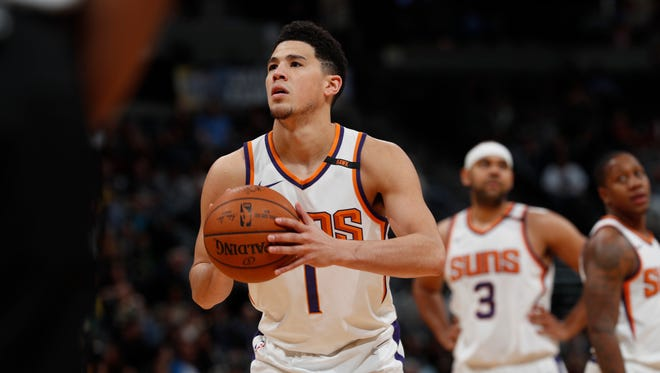 Devin Booker will start his second game at point guard for the Suns.