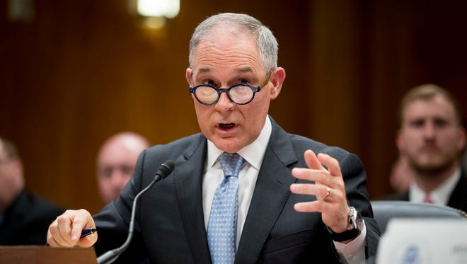 In this May 16, 2018, file photo, Environmental Protection Agency Administrator Scott Pruitt testifies before a Senate Appropriations subcommittee on the Interior, Environment, and Related Agencies on budget on Capitol Hill in Washington.