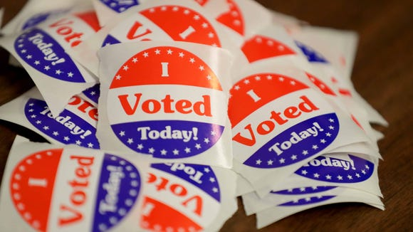 I voted stickers at Franklin City Hall during the August partisan primary in Wisconsin.