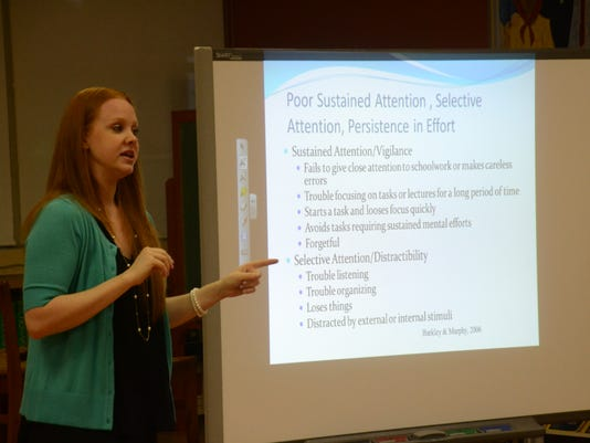 ANI ADD/ADHD Dr. Lauren Stokes gives a workshop for St. Frances Cabrini Elementary School faculty and staff on ADD/ADHD in the classroom. She talked about how to deal with it, recognize symptoms and distinguish between the illnesses and simple disobedienc