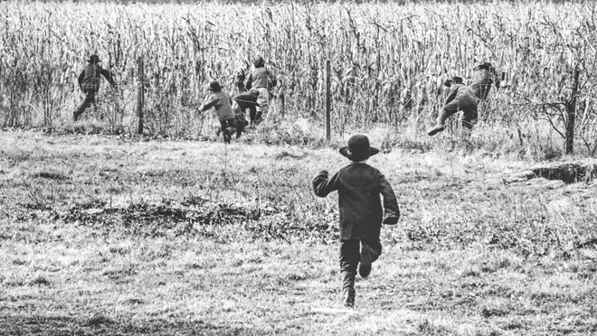 The three-year old dispute between Iowa's public-school officials and the Old Order Amish community of Hazleton, la., became a subject of national interest with the reprinting all over the country of Thomas DeFeo's photograph, first published in the Des Moines Register and Tribune November 20, 1965. The picture showed Amish children, with their sideburns and black hats, scurrying for cover in the cornfields to escape the pursuing public-school truancy officer. For religious reasons the Amish did not permit their children to attend public schools; instead, they maintained their own private schools.