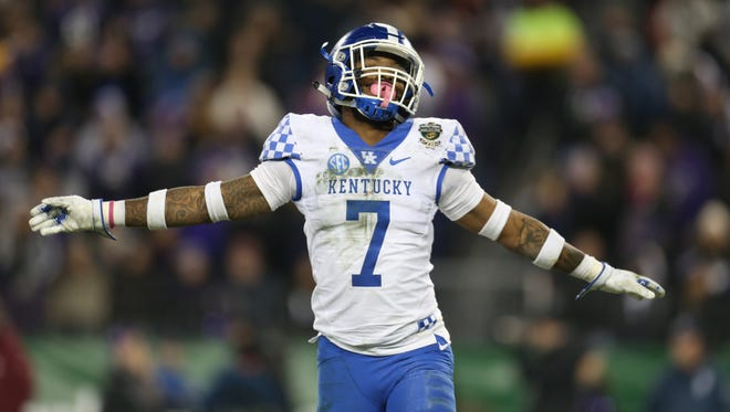 Kentucky safety Mike Edwards (7) reacts after a missed Northwestern field goal during the second half of the Music City Bowl at Nissan Stadium in Nashville, Tenn., Friday, Dec. 29, 2017.