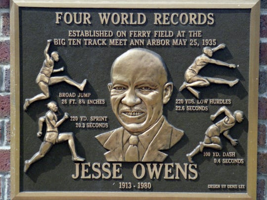 The Jesse Owens plaque at Ferry Field at the University of Michigan.