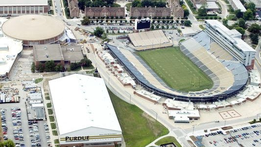 Taken in 2011, an aerial view of the Mollenkopf Center, Ross-Ade Stadium, and Mackey Arena. Mollenkopf and Ross-Ade Stadium's south end zone will undergo future renovations