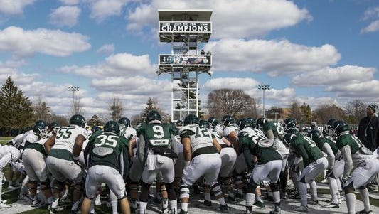 Michigan State, coming off a 10-3 season, will play its annual Green and White intrasquad scrimmage Saturday at Spartan Stadium in East Lansing.