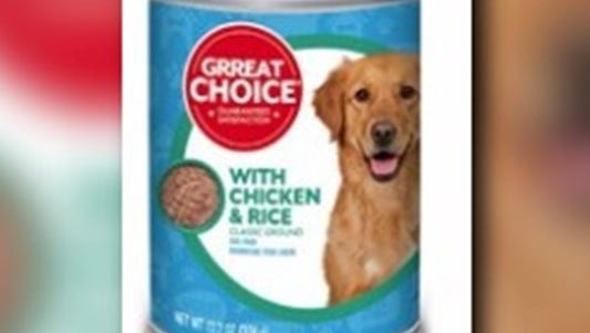 Can of Grreat Choice adult dog food.