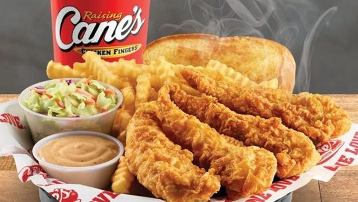 The combo at Raising Cane's is Four chicken fingers