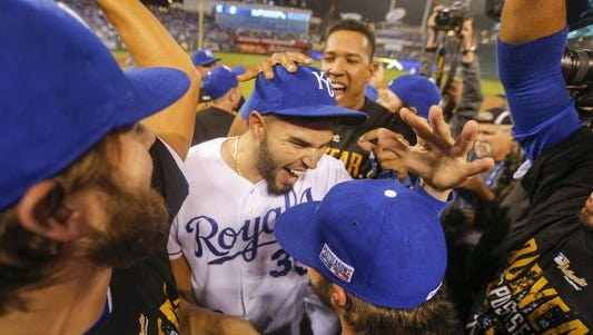 The Royals celebrate their American League Division Series win against the Angels.