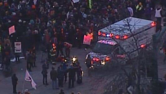 Ambulance on scene at Ferguson protest in Minneapolis.