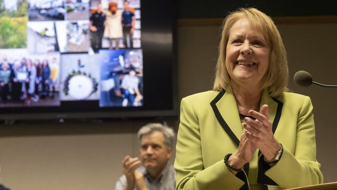 Although voters in Springfield re-elected Mayor Christine Lundberg, shown here delivering the 2019 state of the city address, for another four-year term, she resigned as mayor Saturday, leaving her seat to be filled by a City Council appointment.