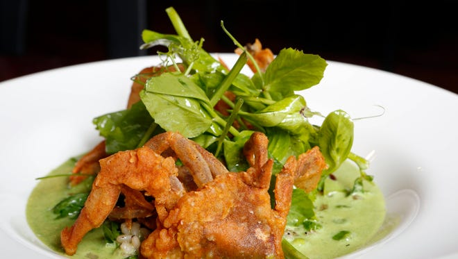 Soft-shell crab with wild nettle cream, barley, speck and spring peas at The Twisted Oak in Tarrytown.