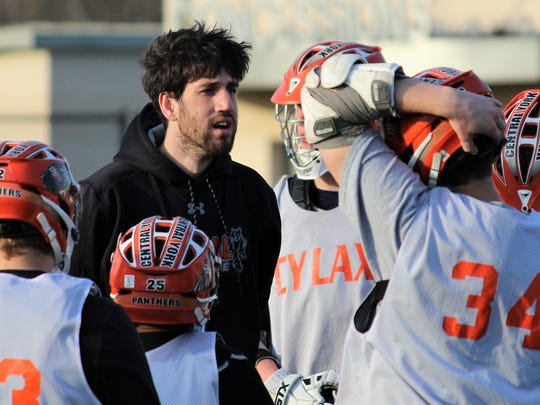 Central York boys' lacrosse head coach Ryan Muller is seen here addressing his team in a file photo.