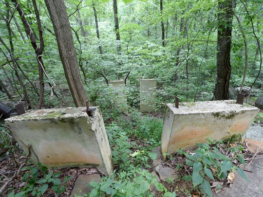 Cement pillars can be seen along a walking path in Gifford Pinchot State Park remaining from the toboggan ride that was offered in the 1960s. The run was only open for a few years.
