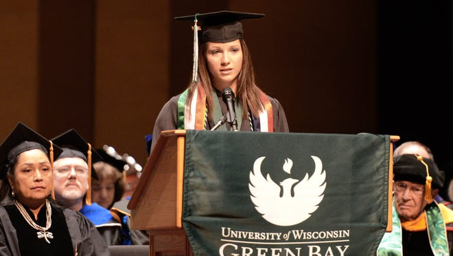Florencia Anahi Gutierrez is the graduating class speaker during the University of Wisconsin-Green Bay mid-year commencement ceremony Saturday at the Weidner Center.