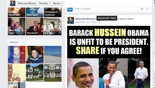 A screen grab from the Facebook page of Ocean County Assistant Prosecutor Otto Nicholas Monaco - who is apparently no fan of President Barack Obama.