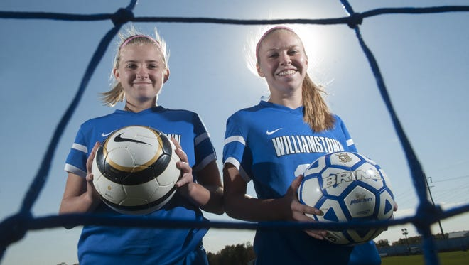 Williamstown girls soccer players Ashley Engler, left, and Mary Kate Ulmer. 10.20.15