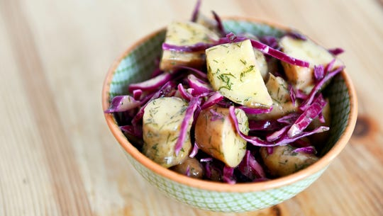 Cabbage-potato salad, made with red cabbage and fingerling