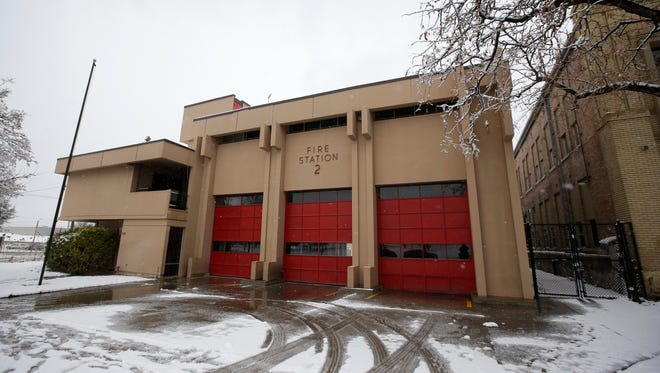 This Tuesday, March 3, 2015 photo shows Fire Station 2 in Salt Lake City after an early morning fire in a second-floor utility room at the building. Nine Salt Lake City firefighters who escaped the fire that erupted at their own station were taken to a hospital to be checked for smoke inhalation. Fire Department spokesman Jasen Asay says in a statement that the nine firefighters fled the building and returned with a truck to fight the blaze.