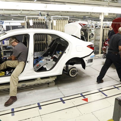 Gains manufacturing jobs, like those at Toyota's plant