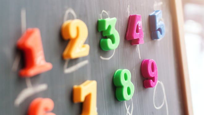 Multiple colorful magnets with numbers on a blackboard.