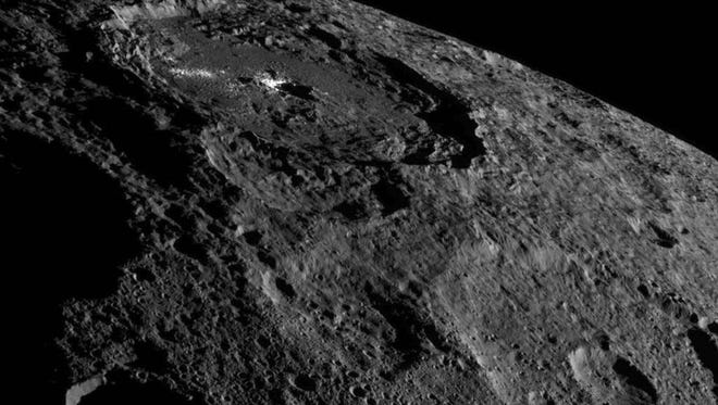 The Occator Crater which is known as one of Ceres' intriguing bright areas.