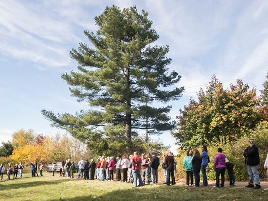 People wait in line to vote outside of Starview United