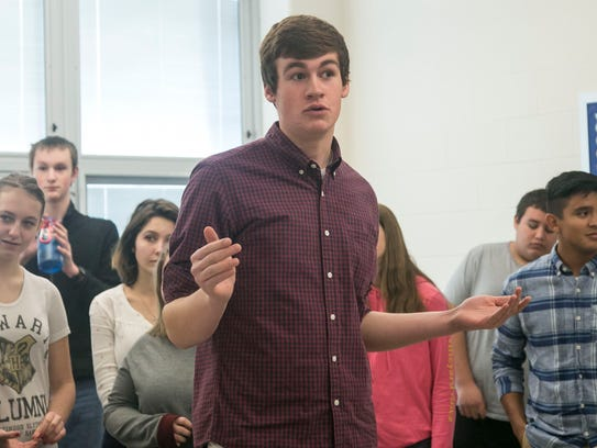 Central York sophomore Dan Risser, gestures as he speaks