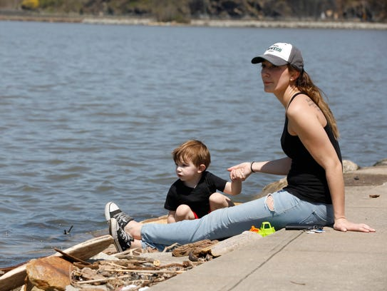 Rebecca Maisel and her son Aiden, 3, of Mohegan Lake,