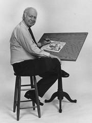 J. Earle Bowden at his drawing desk in 1997.