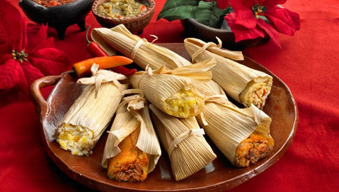 Tamales come in several varieties including red chile, green corn and vegetarian.